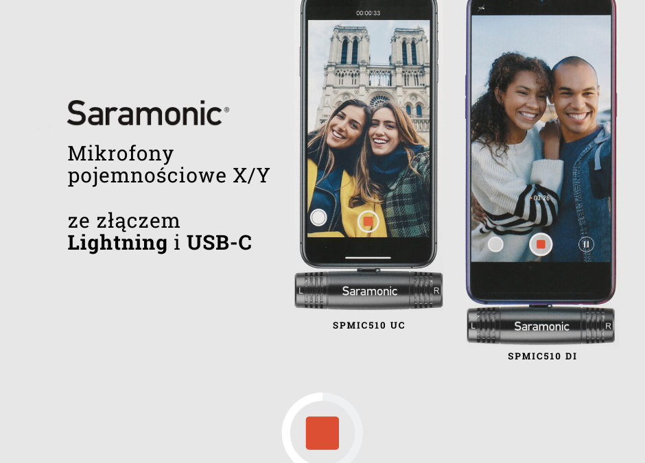 Mikrofony stereofoniczne Saramonic SPMIC510 z wejściem Lightning i USB-C
